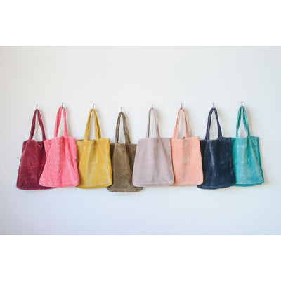 Creative Coop Cotton Velvet Jewel Tote Bags - 8 Colors