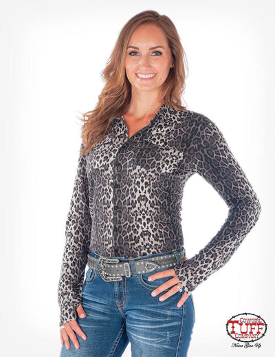 Cowgirl Tuff Grey Leopard Performance Mock Button Up