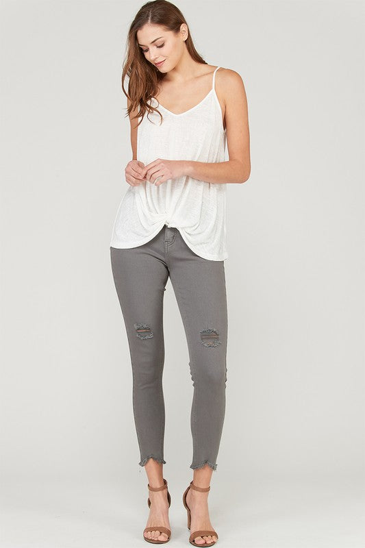 DISTRESSED SOLID COTTON SKINNY JEANS BY WISH LIST