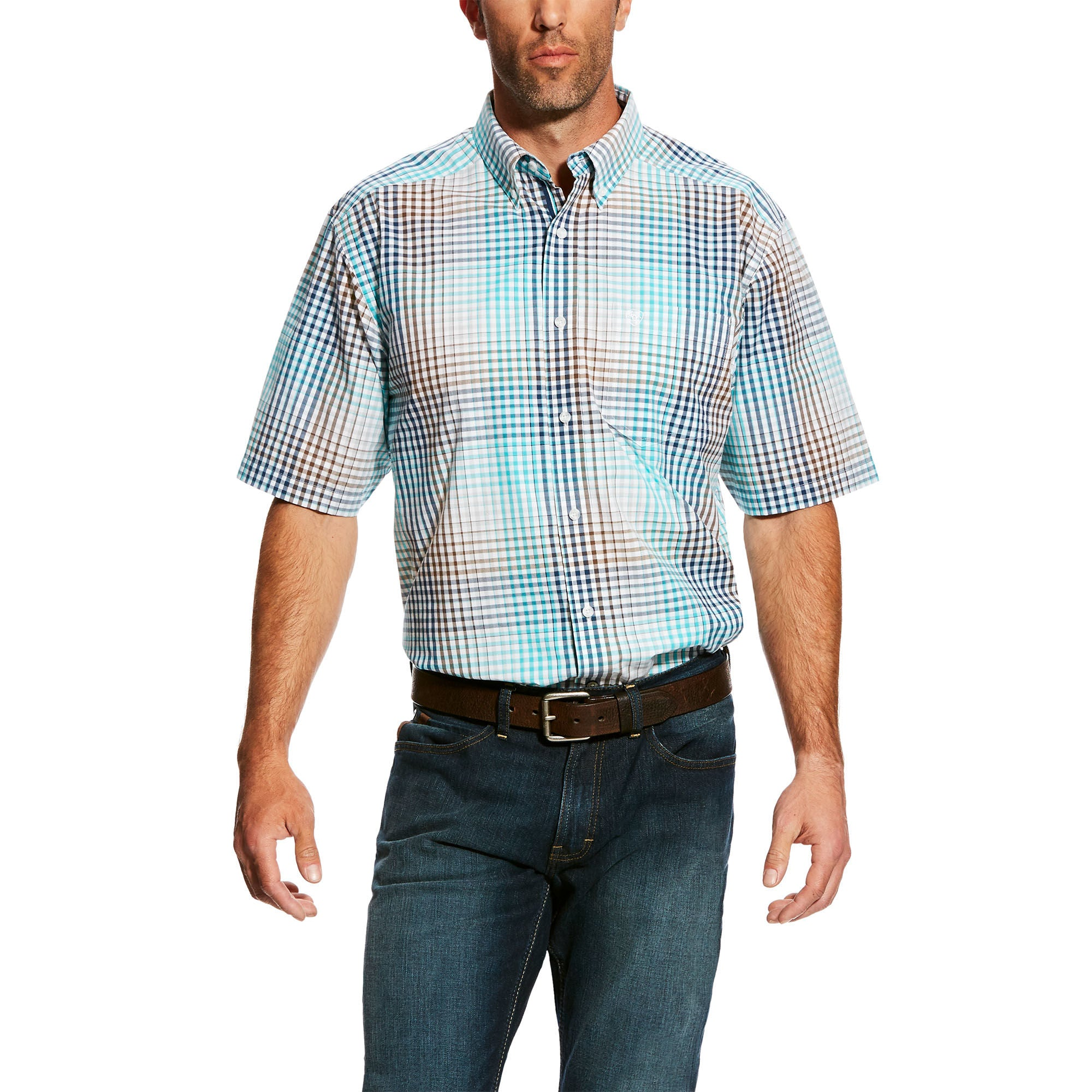Ariat Harby Turquoise Plaid Short Sleeve Men's Shirt