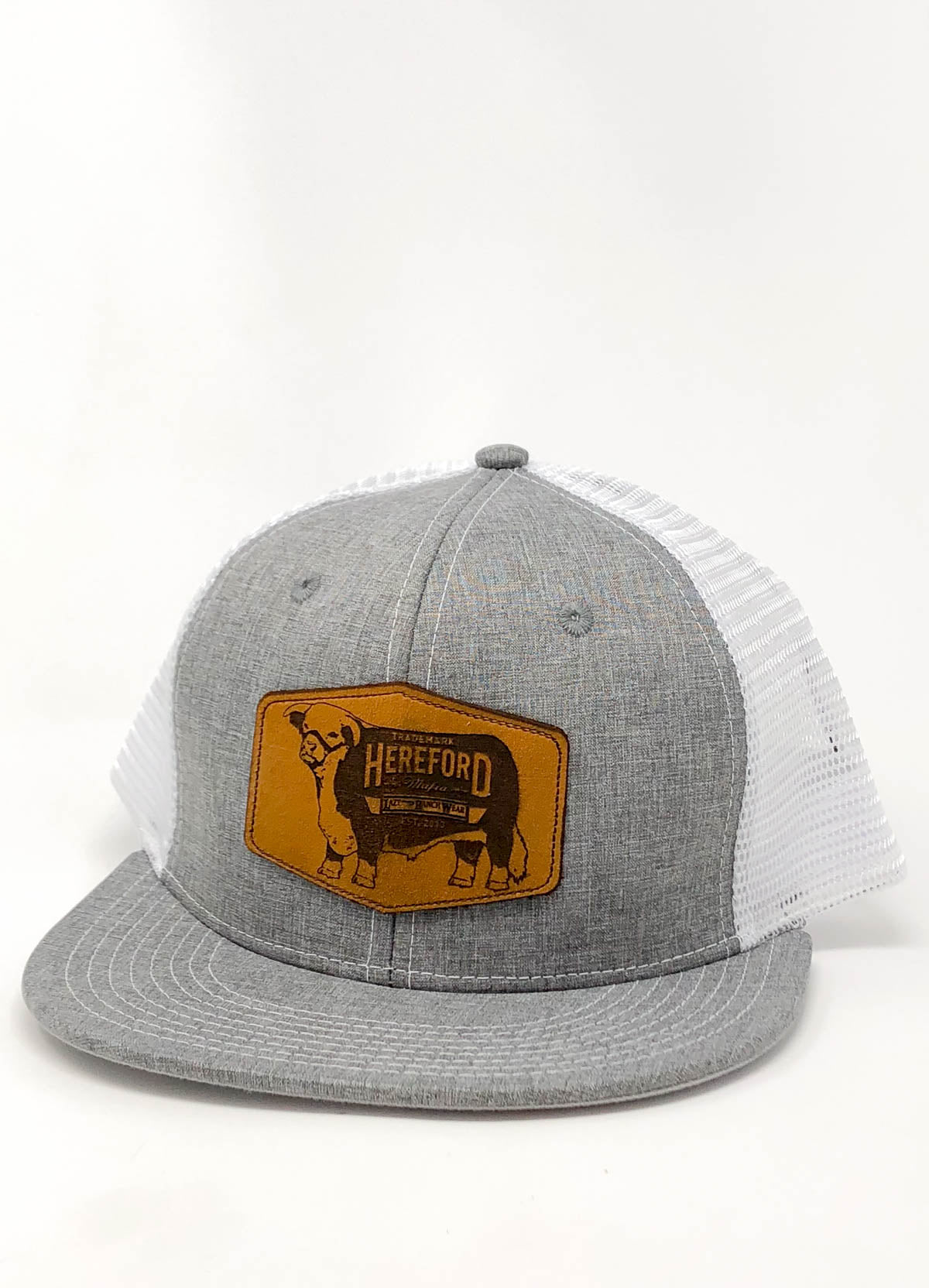 "Lazy J Heather Gray & White Leather Mafia Patch Cap (3.5"")"