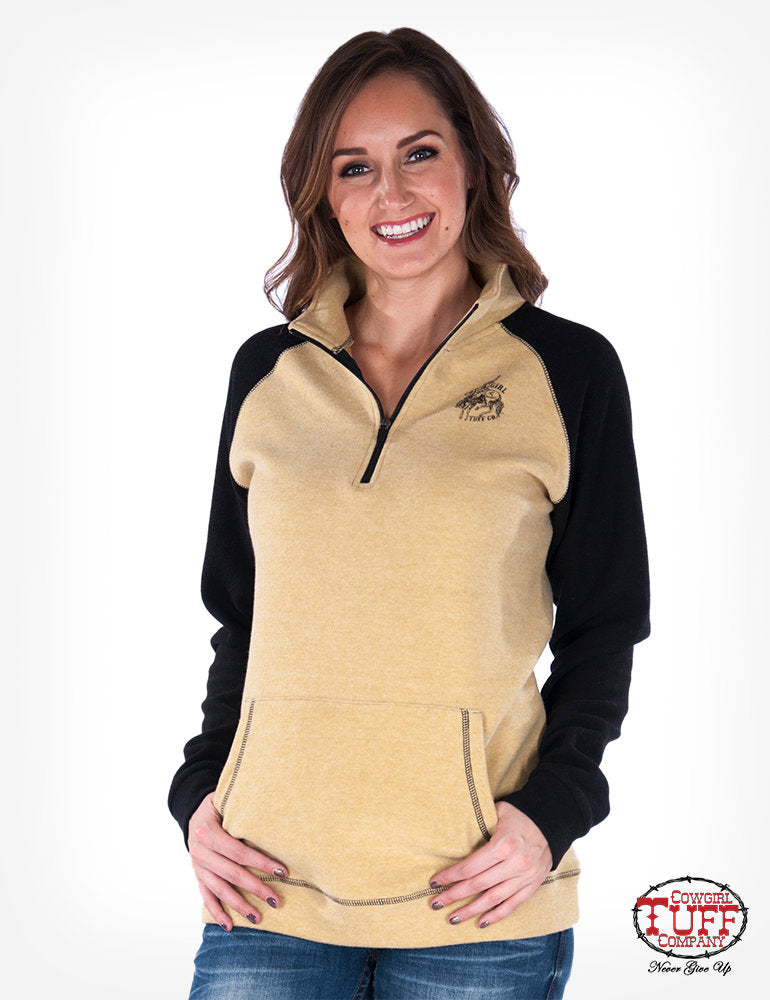 Cowgirl Tuff Black and Honey Women's Fleece Pullover