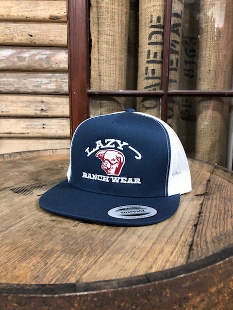 Lazy J Ranch Wear Embroidered Show Bull Navy and White LJRW Cap