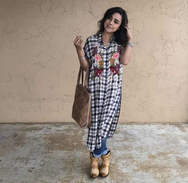 Plaid Klara Easy High Slit Tunic by Johnny Was