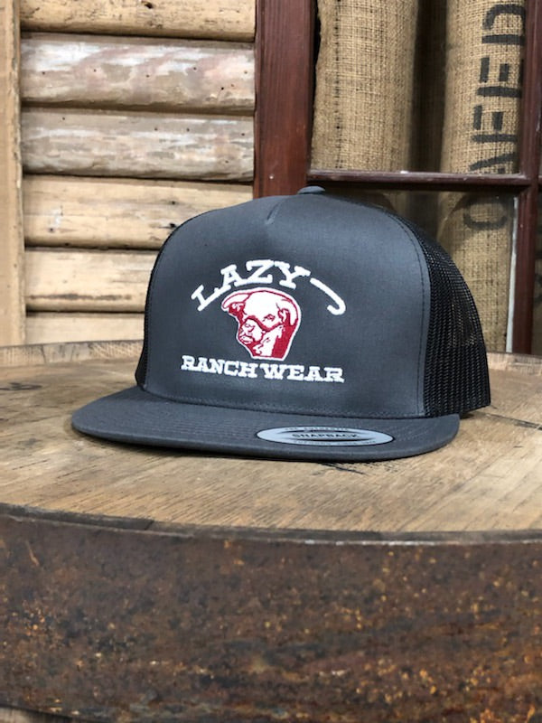 Lazy J Ranch Wear Bull Logo Grey and Black Cap