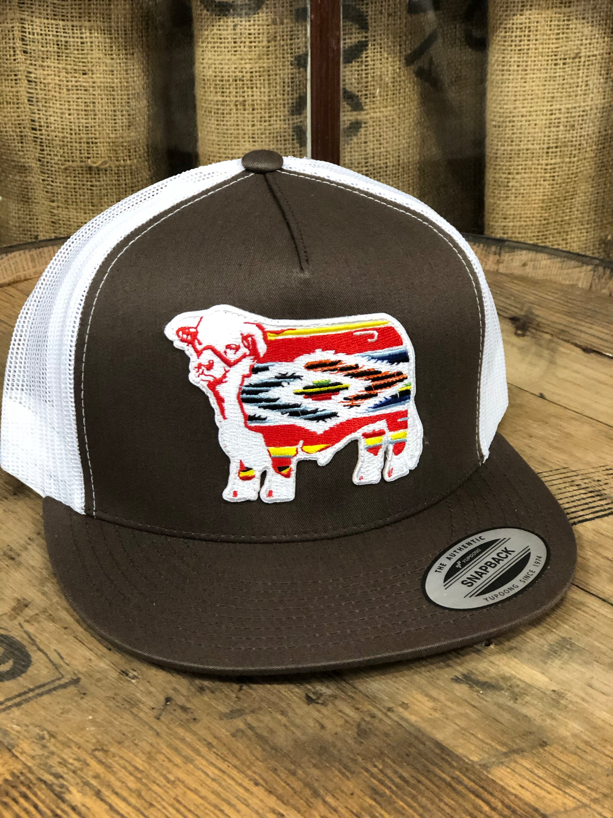 "Lazy J Ranch Wear Brown & White 4"" Serape Bull"