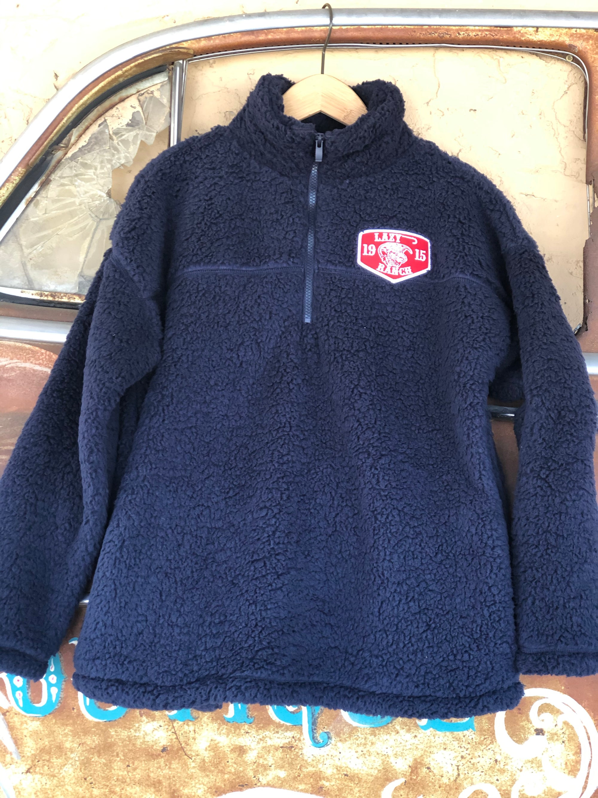 Lazy J Ranch Wear Navy Sherpa Red Ranch Patch Women's Pullover