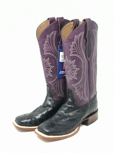 Tony Lama Women's Hermoso Full Quill Ostrich Black Boot