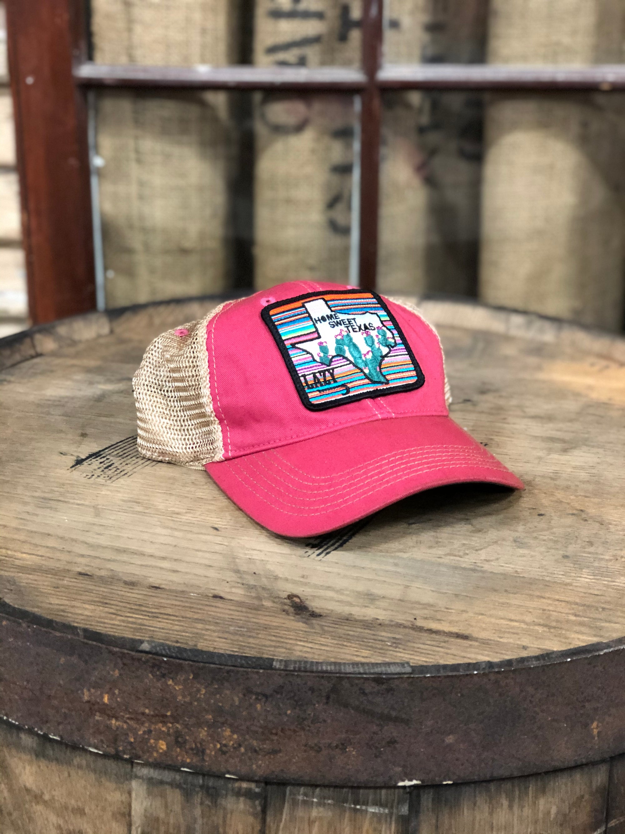 Lazy J Ranch Wear Hot Pink & Tan Unstructured Home Sweet Texas Cap - HOTPINKHMHST
