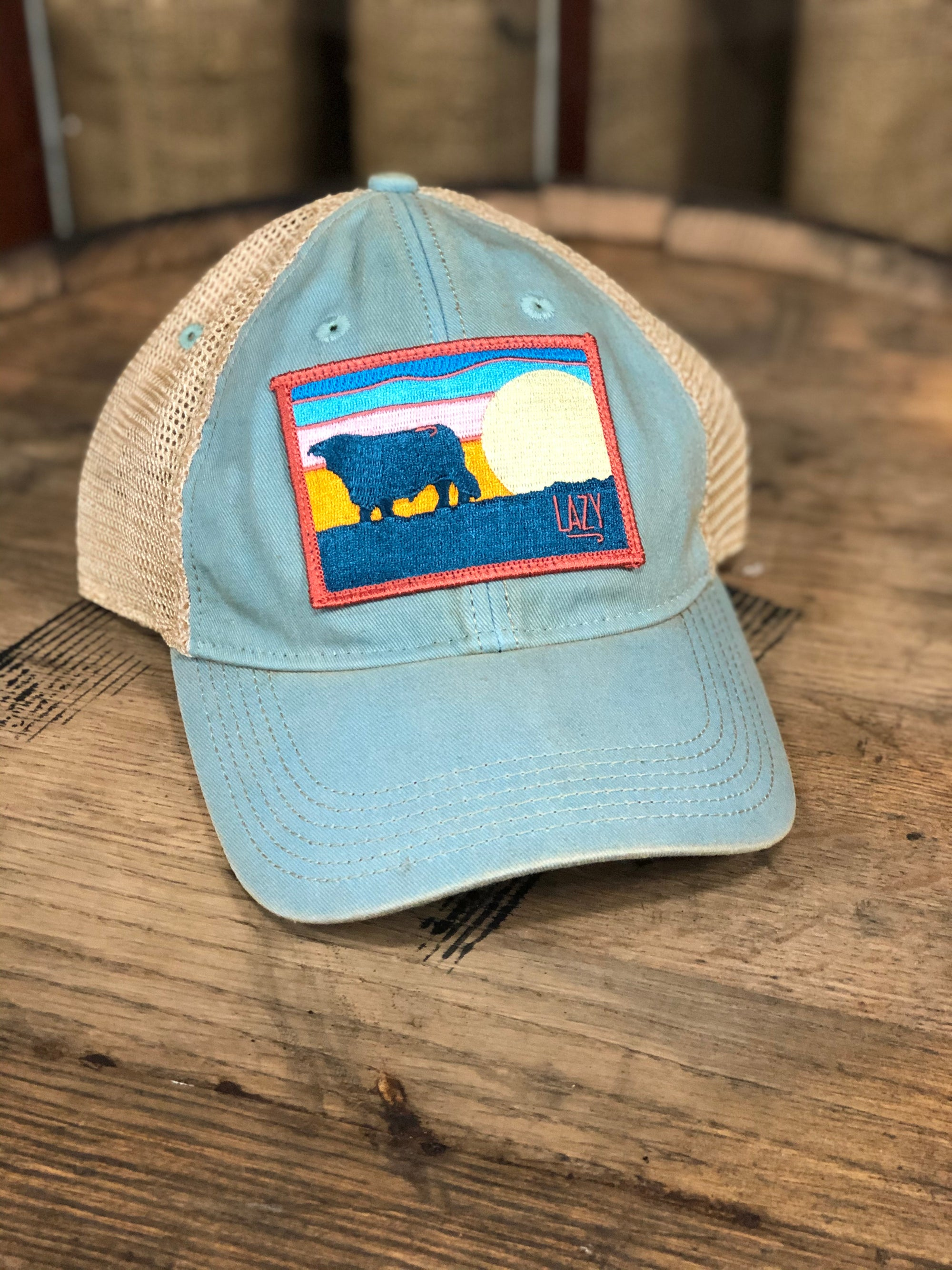 Lazy J Ranch Wear Azul & Tan Unstructured Distressed Hereford Sky Cap - AQUAHMSKY