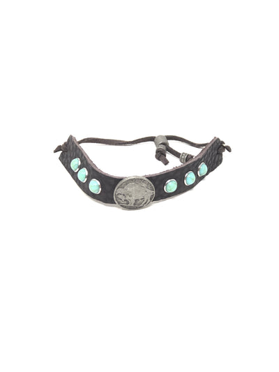Leather Cuff Concho Bracelet