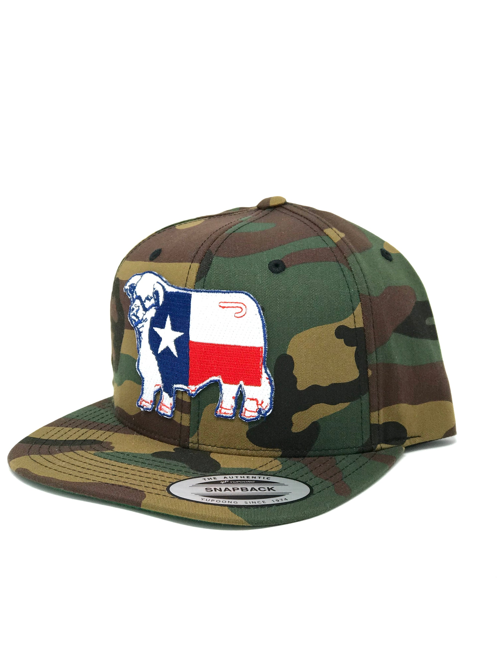 "Lazy J Camo 4"" Flatbill Hereford Texas Flag Patch Cap"