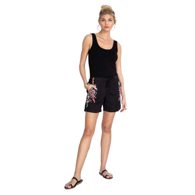 Johnny Was Imani Linen Shorts - Black