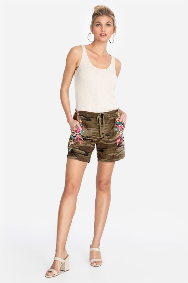 Johnny Was Camo Imani Linen Shorts
