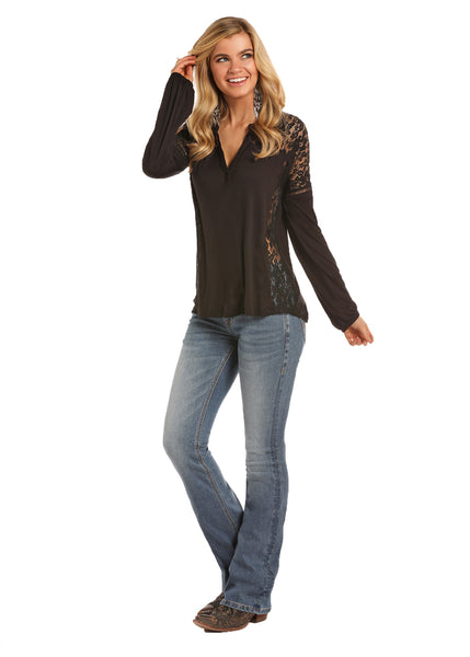 Women's Lace Long Sleeve By Rock & Roll Cowgirl