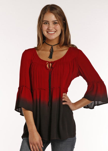Red Dip Dye Bell Sleeve Top By Rock & Roll Cowgirl