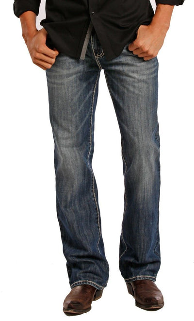 Rock & Roll Denim Men's Relaxed Fit Double Barrel Straight Leg Jeans - Vintage Wash
