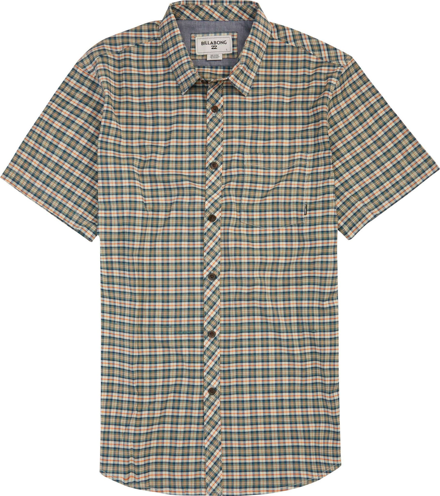 Men's Green Patterson Stretch Short Sleeve Woven Shirt by Billabong