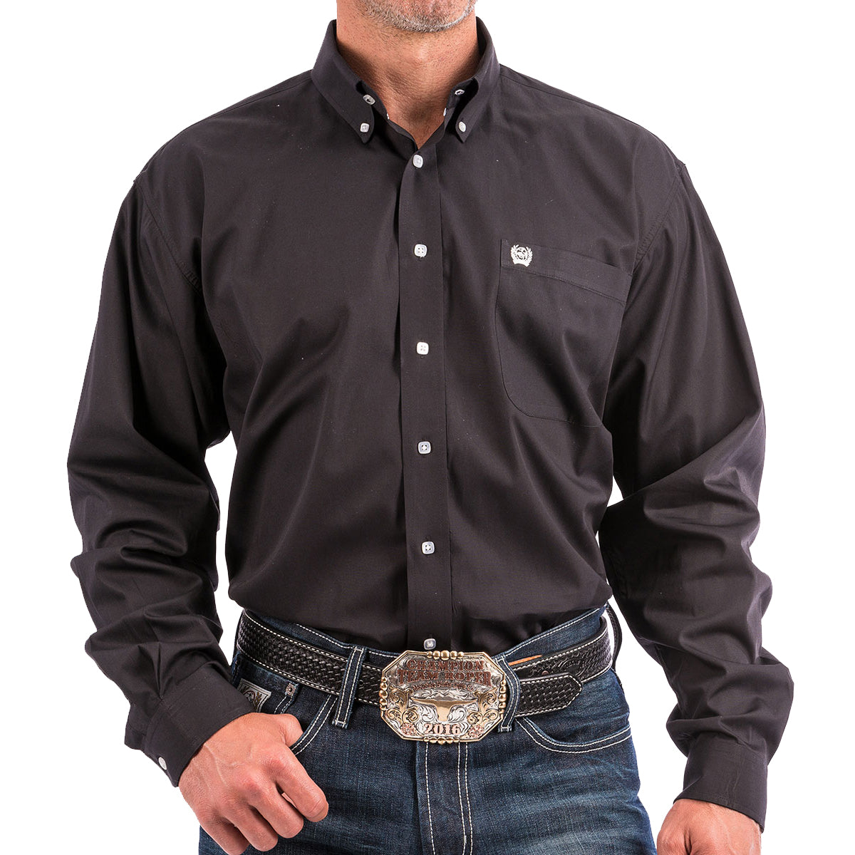 Cinch Men's Button-Down Western Long Sleeve Shirt - Solid Black