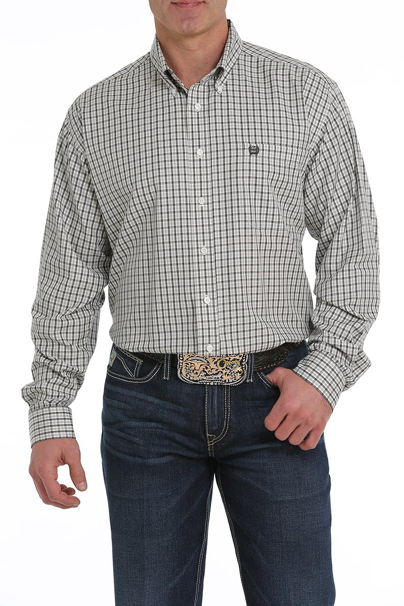 Cinch Men's TENCEL Olive and Gray Plaid Long Sleeve Button Down
