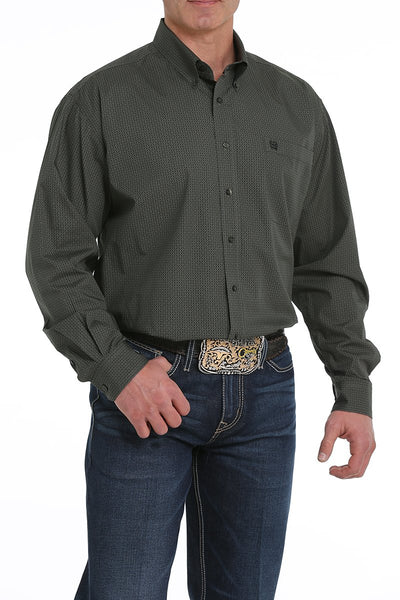 Cinch Men's Olive Micro Geometric Print Button Down Long Sleeve Shirt