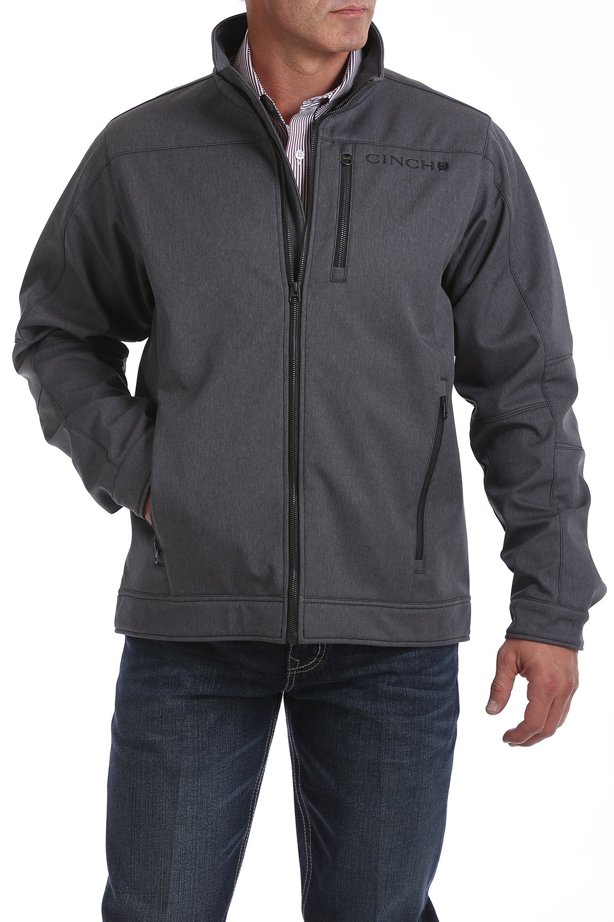Cinch Textured Heather Gray Bonded Men's Jacket