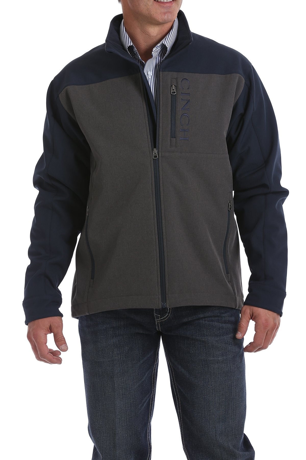 Cinch Color Blocked Navy and Charcoal Bonded Men's Jacket