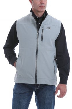Cinch Men's Solid Textured Bonded Vest - Grey