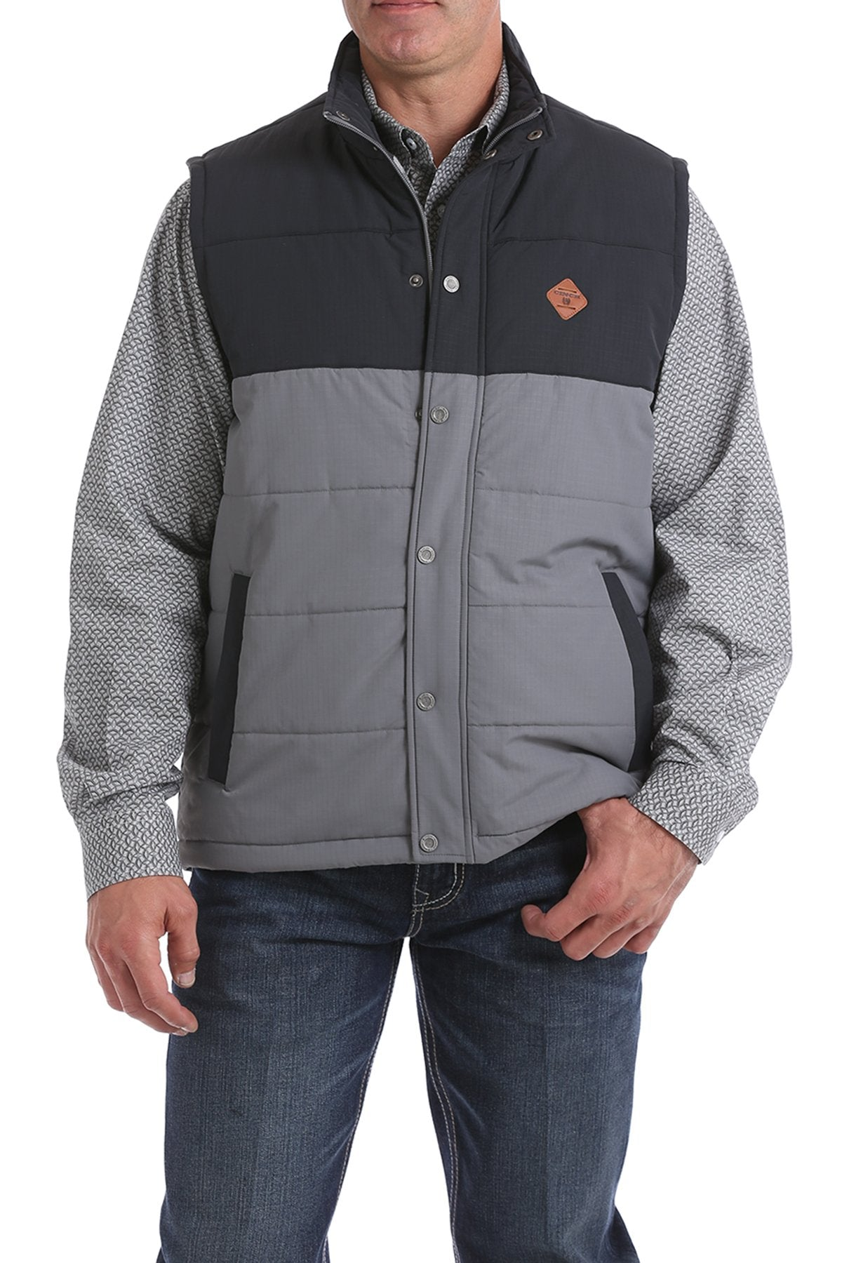 Cinch Ripstop Puffer Charcoal and Black Men's Vest