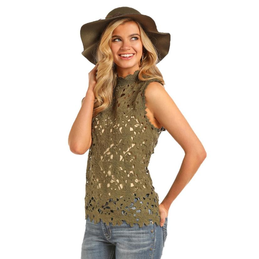 Olive Green Cut Out top by Panhandle