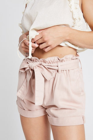 BELTED DENIM MINI SHORTS WITH POCKETS BY WISH LIST