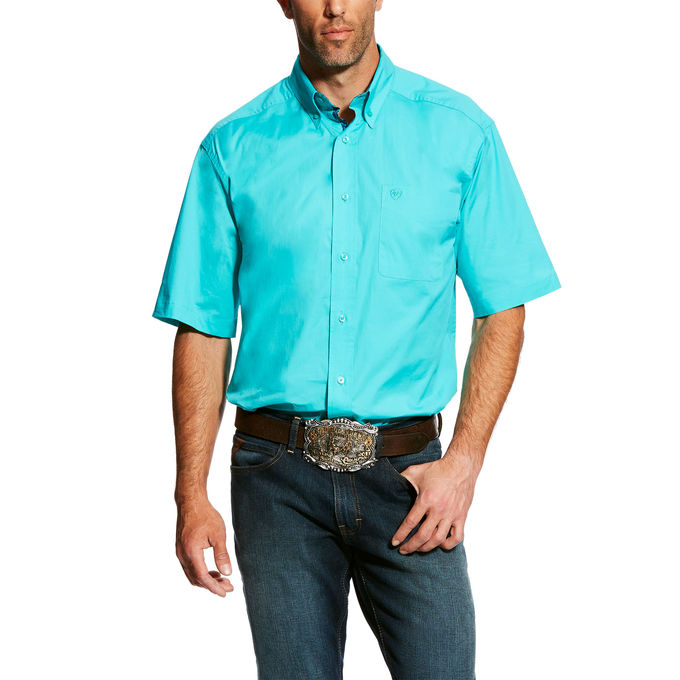 Ariat Drift Turquoise Poplin Men's Button Down Shirt