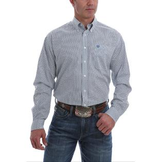 Cinch Men's Long Sleeve Button Down Shirt - Light Blue Print