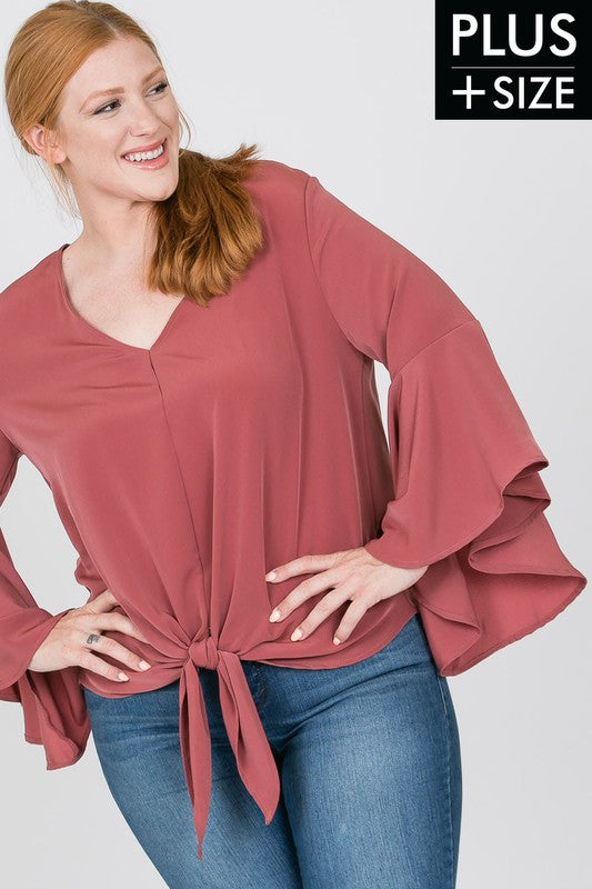Women's Plus Size Bell Sleeve Woven Top