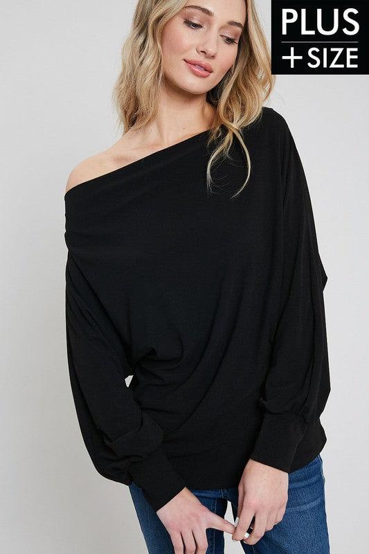 Womens Plus Size Black One Shoulder Top