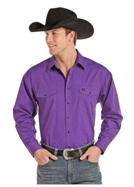 Men's Purple Button Up By Panhandle