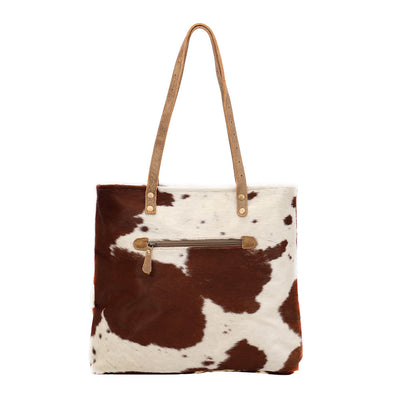 Brown and White Cowhide Leather Purse