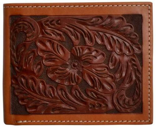 Mens Bi-Fold Floral Tooled Wallet