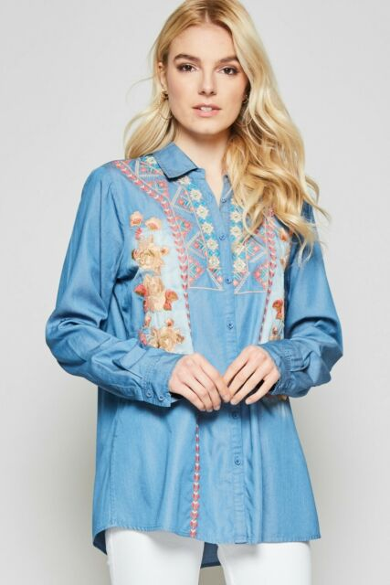 Women's Plus Size Embroidered Denim Top