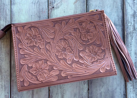 Taupe Hand Tooled Envelope
