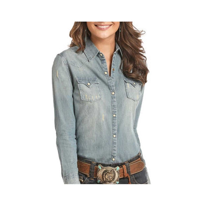 Panhandle Women's Rock & Roll Cowgirl Distressed Denim Long Sleeve Snap Shirt