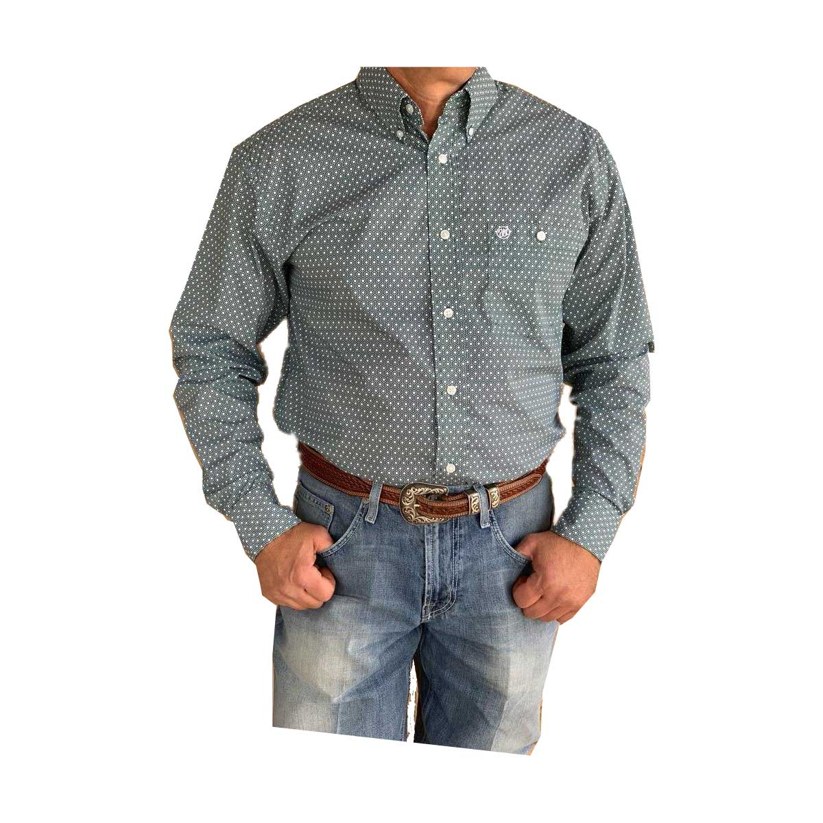 Wrangler Men's Easy Care Geometric Button Down Long Sleeve Shirt