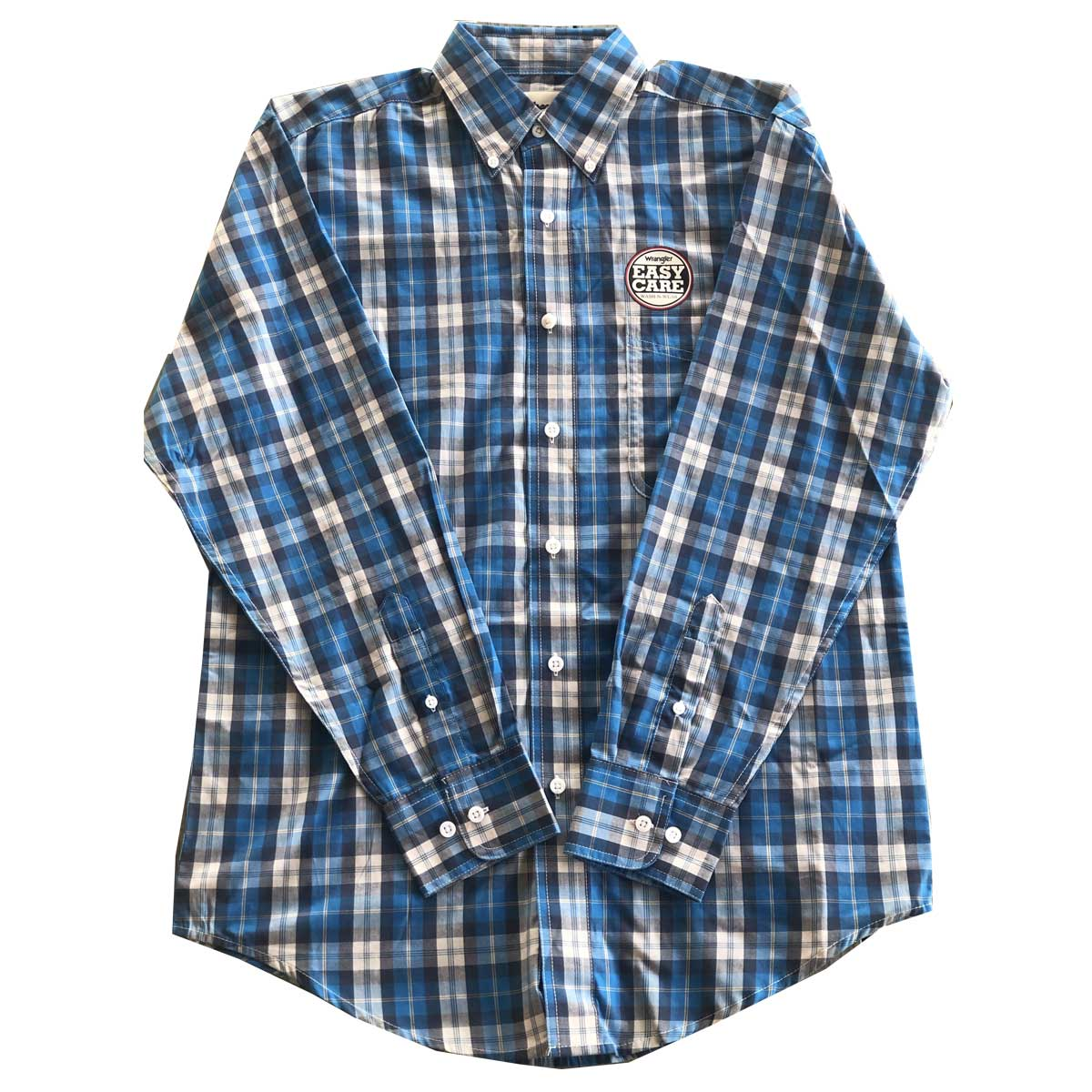 Wrangler Men's Long Sleeve Button Down One Pocket Plaid Shirt - Dark Blue Tan