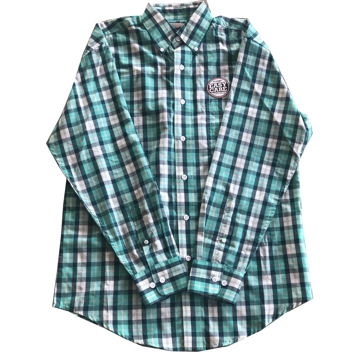 Wrangler Men's George Strait Long Sleeve Button Down One Pocket Plaid Shirt - Green