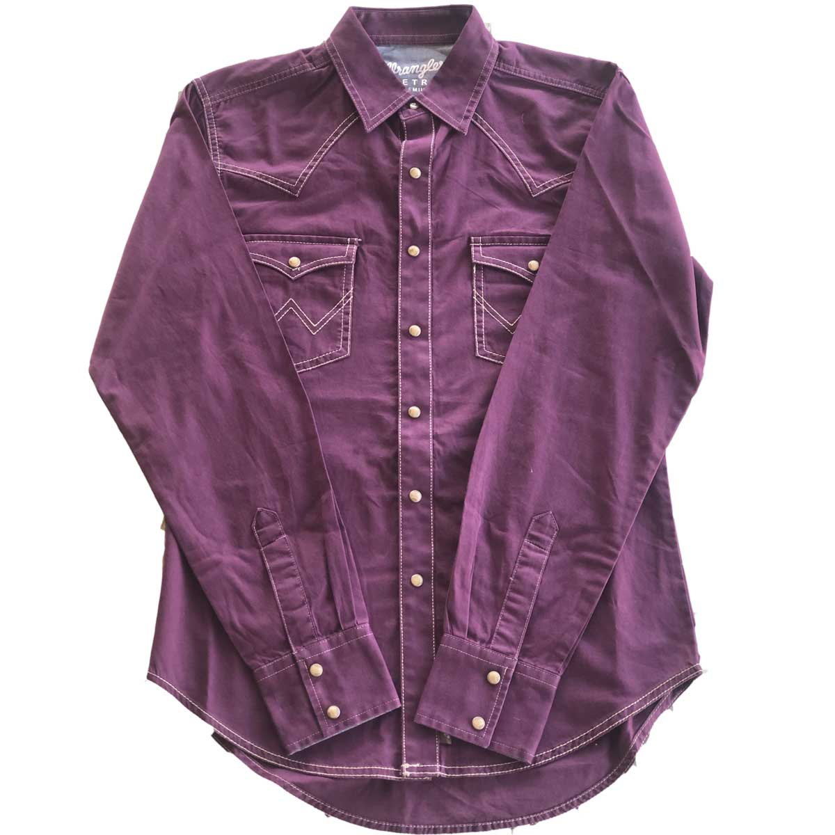 Wrangler Men's Pearl Snap Long Sleeve Western Shirt - Plum Purple