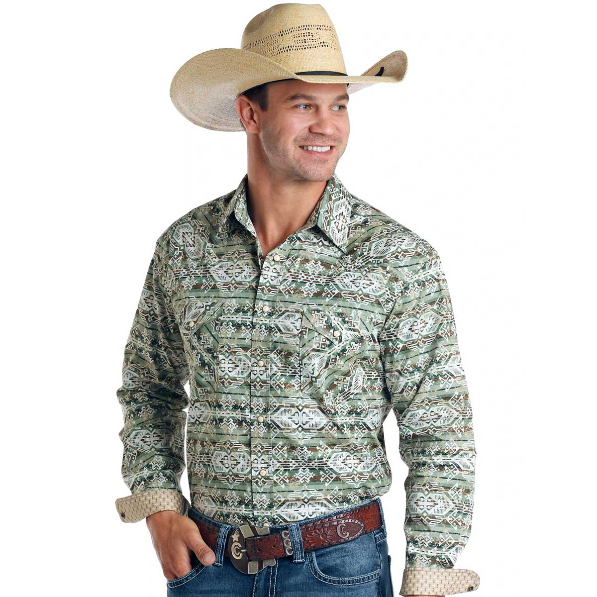 Panhandle Men's Army Green Aztec Snap-Down Western Shirt