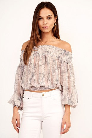 Off The Shoulder Snake Skin Print Women's Top