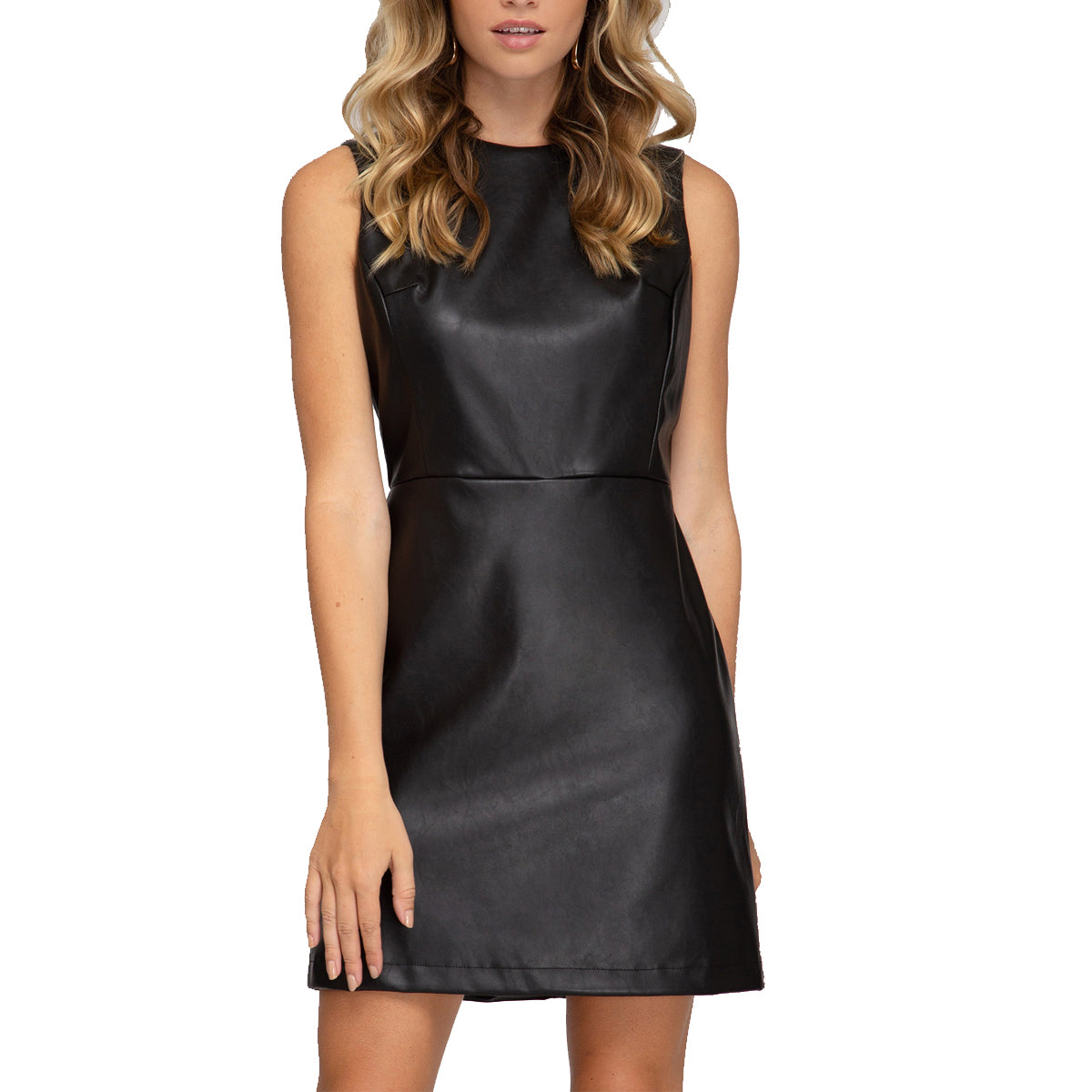 She + Sky Women's Sleeveless Faux Leather Sheath Dress - Black