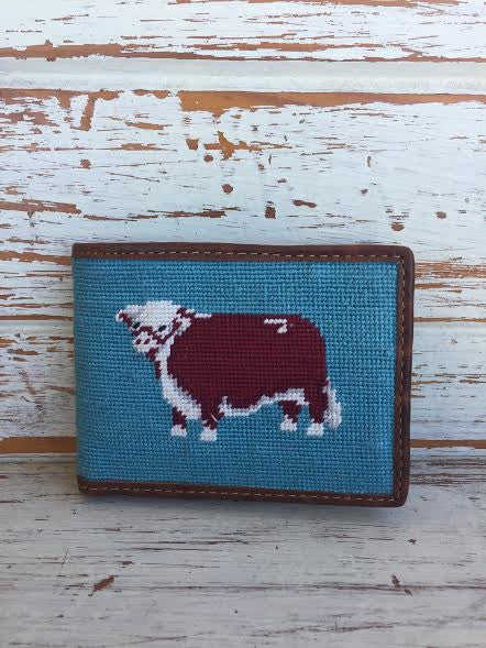 Lazy J Teal Hereford Pinpoint Wallet by Smathers & Branson