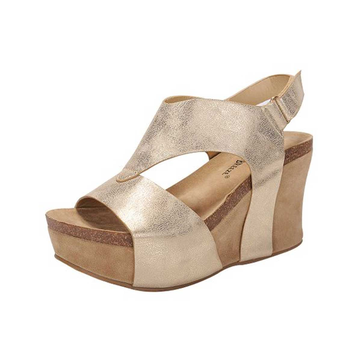 Nature Breeze V-Shaped Strap Platform Wedge Shoes
